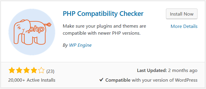 PHP compatibility checker plugin by WPEngine