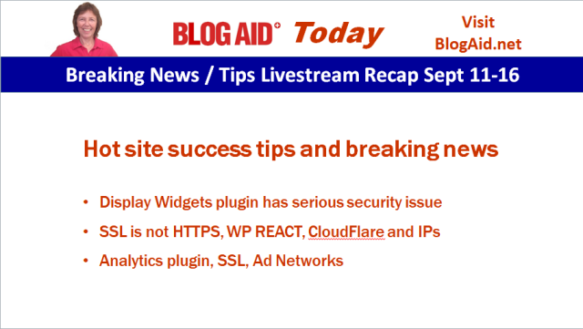 Speed up Ads, Plugin Issues, REACT, Gutenberg - BlogAid Today Recap Sept 11-16