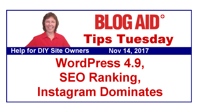 Tips Tuesday – WordPress 4.9, SEO Ranking, Instagram Dominates