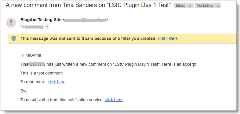 Lightweight Subscribe to Comments Notification Email Example