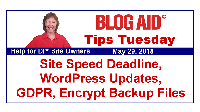 Tips Tuesday – Site Speed Deadline, WordPress Updates, GDPR, Encrypt Backup Files