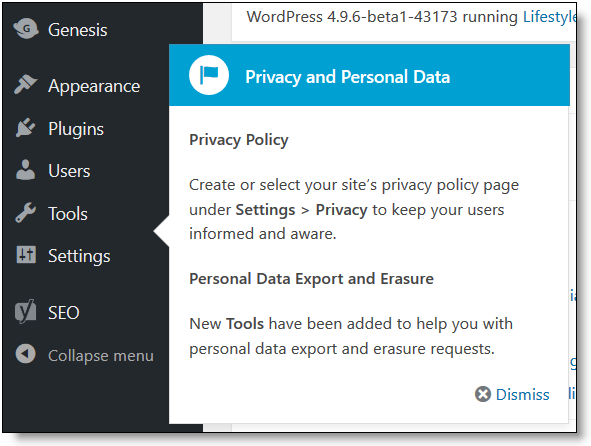 WordPress 4.9.6 Privacy Personal Data Notice