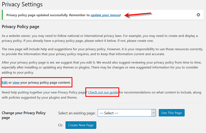 WordPress 4.9.6 Privacy Settings