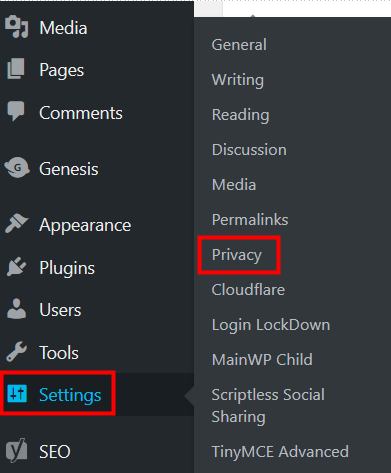 WordPress 4.9.6 Privacy Settings Links