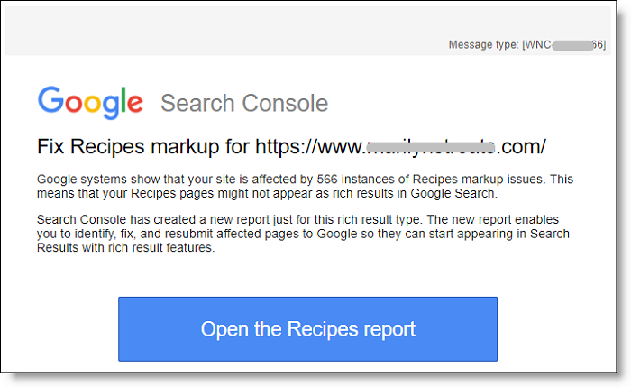 Fix recipes markup Google Search Console email