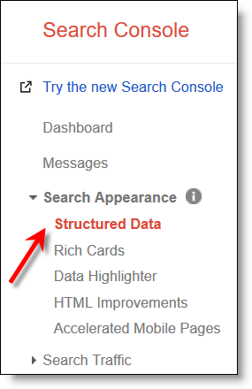 Google Search Console original interface Structured Data link