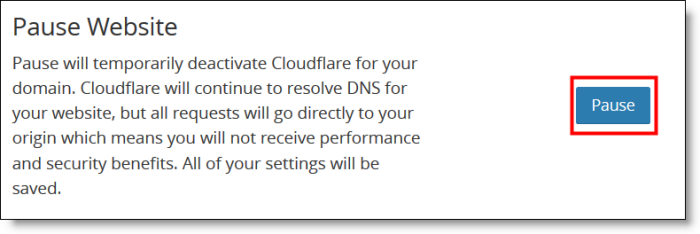 Cloudflare Pause Button
