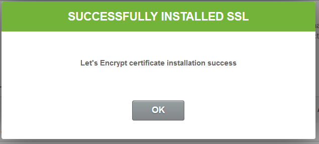 SSL Successfully Installed message