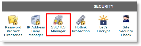 SSL/TLS Manager Icon in cPanel