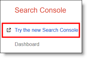 Try New Search Console link