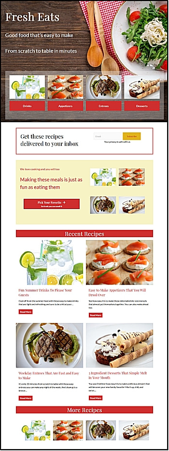Gutenberg Home Page for Foodie, DIY, Craft