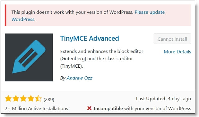 TinyMCE Advanced WordPress 5.3 Update Notice.